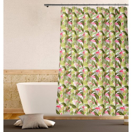 Chileana Flamingo with Palms Cotton Shower Curtain