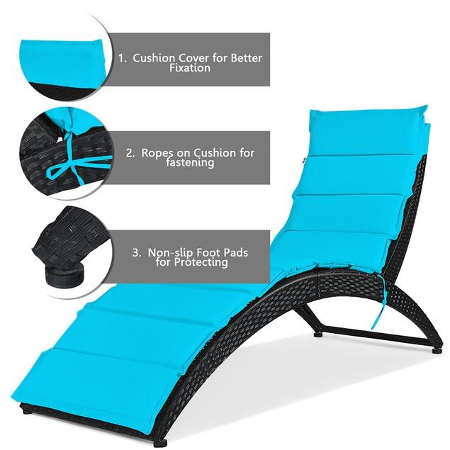 2 Piece Folding Patio Rattan Lounge Chair Chaise