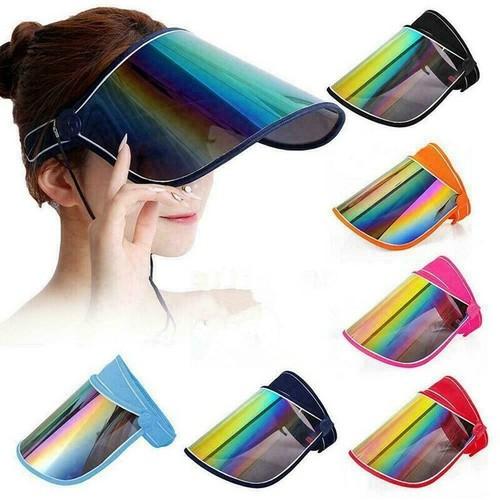 Anti-uv Solar Protection Sun Visor Cap Hat Face Cover Unisex Random Colors