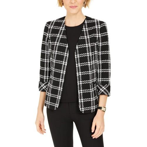 Kasper Women's Plaid Open-Front Jacket Black Size 12