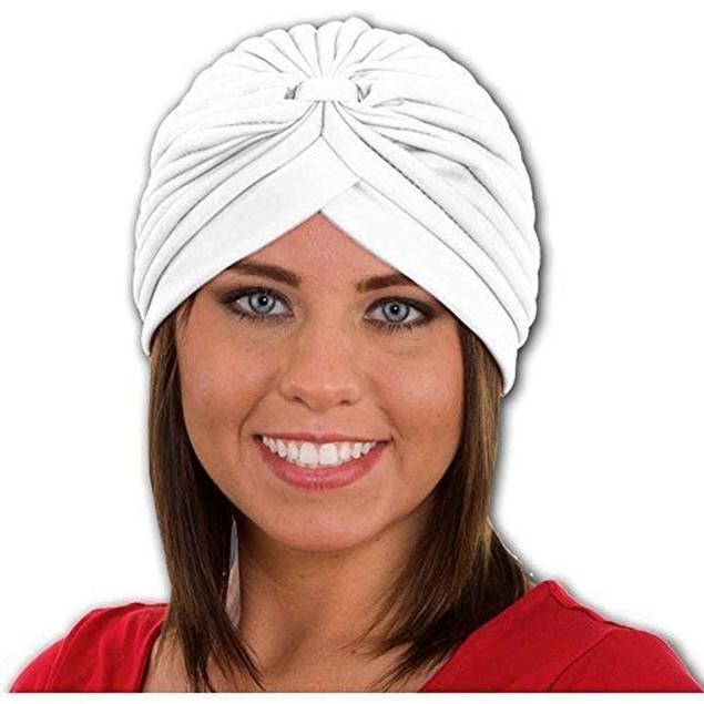 White Spandex Pleated Turban Adult Psychic Genie Hat Fortune Teller Costume