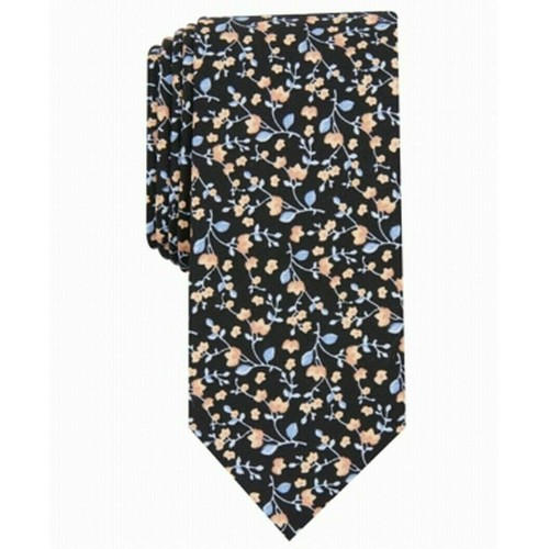 Bar III Men's Vine Floral Skinny Tie Black Size Regular