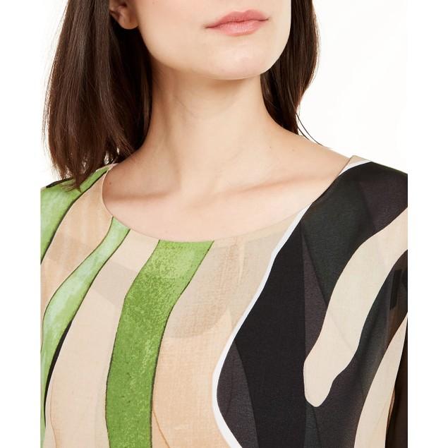 Alfani Women's Printed Bubble-Hem Top Brown Size Large