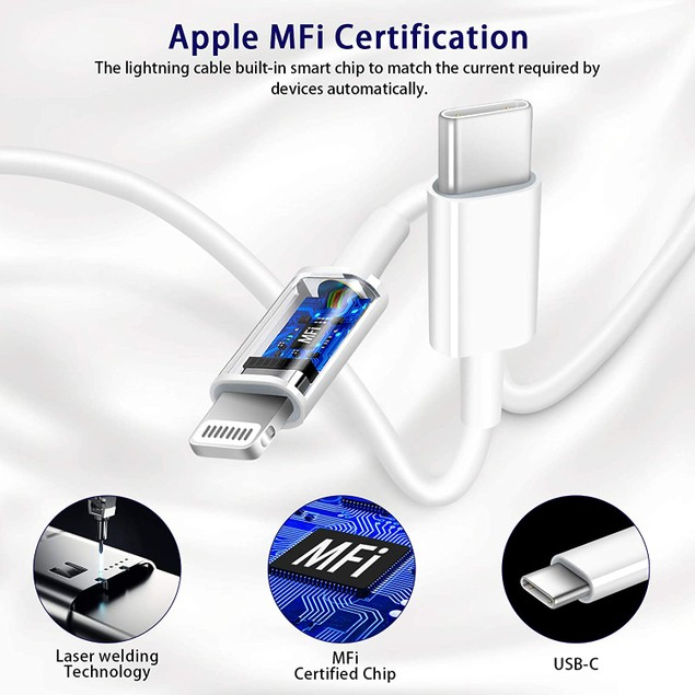 18W PD USB-C to 8 Pin iPhone Cable Fast Charger for iPhone 12 Mini