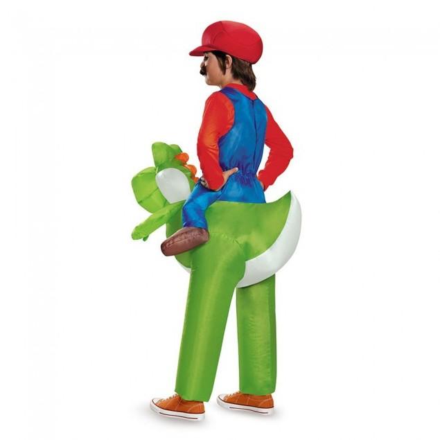 Mario Riding Yoshi Inflatable Child Costume Super Mario Bros Nintendo