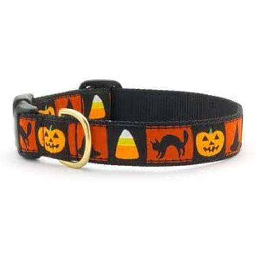 Up Country Halloween Motif Style Dog Collar, Medium