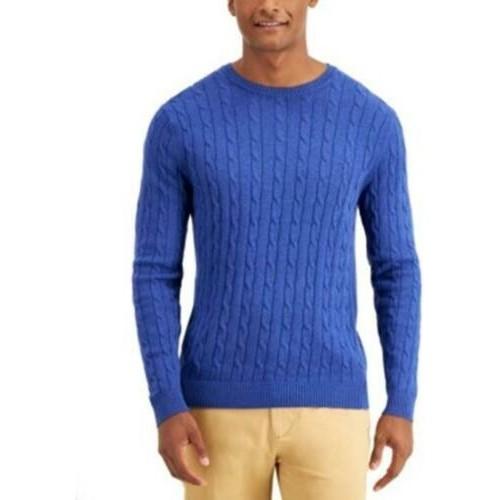 Club Room Men's Cotton Cable Crewneck Sweater Blue Size Large