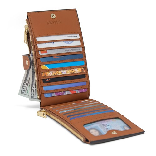 USSSKY Chelsea Women's Genuine Leather RFID-Blocking Bi-Fold Card Case Wallet with Pocket - Assorted Colors
