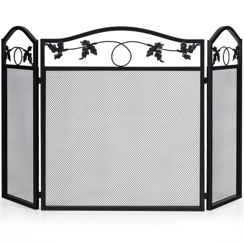 Costway 3 Panel Foldable Steel Fireplace Screen Spark Guard Fence for Baby