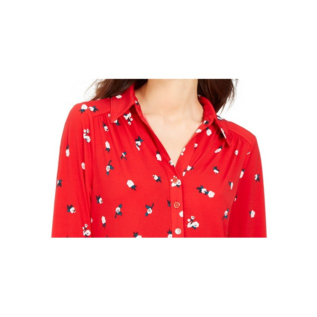 Charter Club Women's 3/4 Sleeve Printed Polo Top Medium Red Size Small