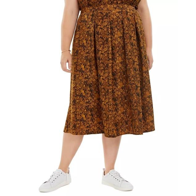 Bar III Women's Trendy Snake Print Pleated A Line Midi Skirt Yellow Size 2X