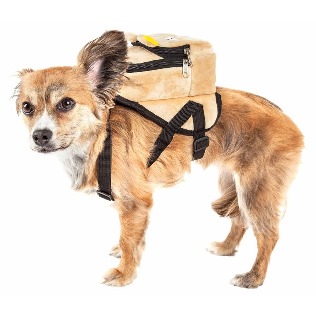 Pet Life 'Teddy Tails' Dual-Pocketed Animated Dog Harness Backpack