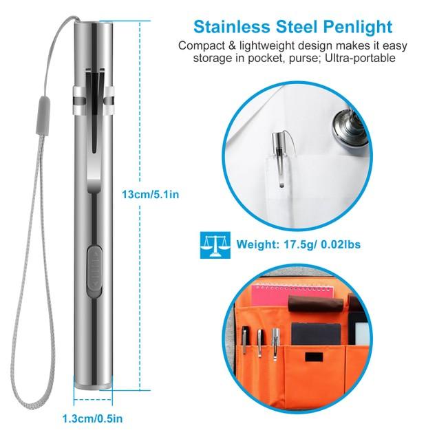 2Pcs Inspection Penlight for Nurses 250 Lumens Rechargeable LED Flashlight
