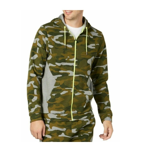 Ideology Men's Colorblocked Camo Jacket Green Size Small