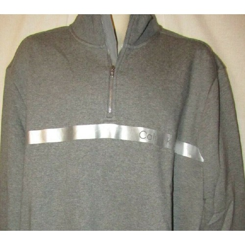 Calvin Klein Men's Sweater 1/4 zip Logo Stripe Gray Size Extra Large
