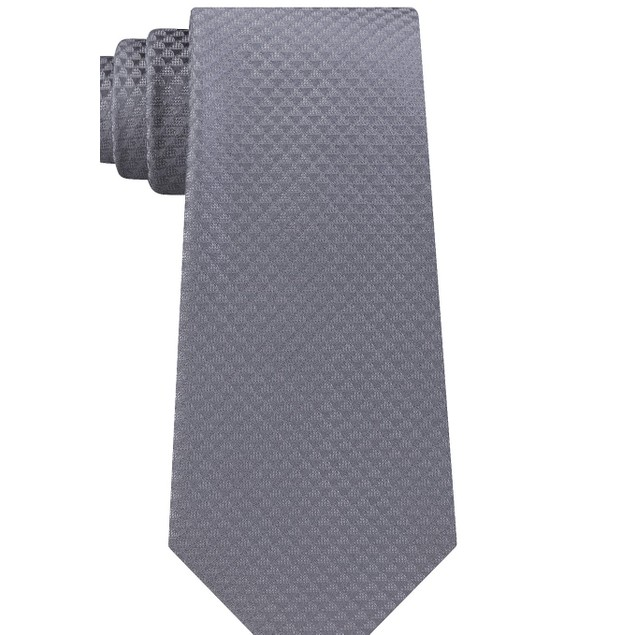 Calvin Klein Men's Dual Houndstooth Slim Silk Tie Charcoal Size Regular