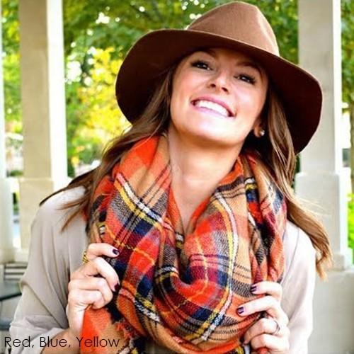 Soft Cashmere Tartan Plaid Blanket Scarf -