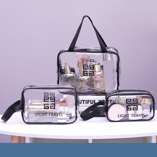 3-Pack Travel Makeup PVC Toilet Bag Female Portable