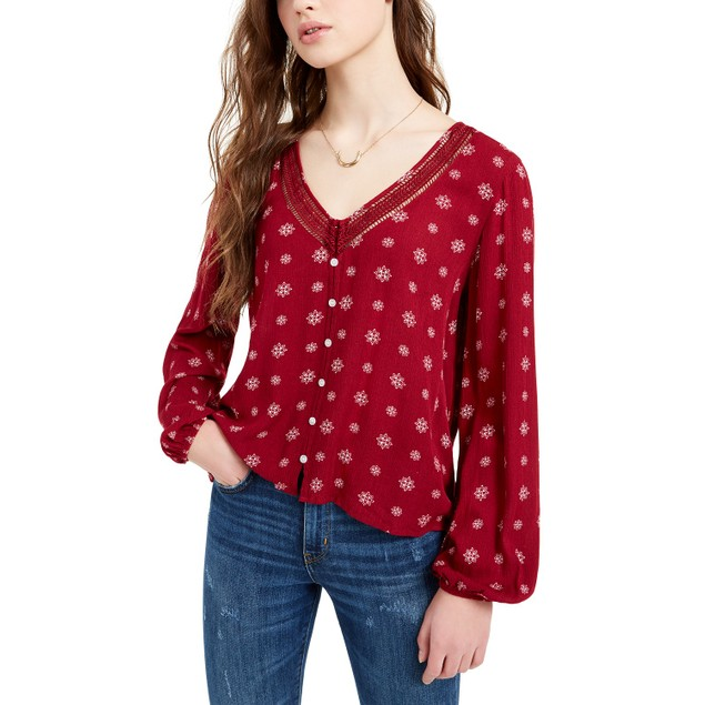 Hippie Rose Juniors' Crochet-Trim Blouse Red Size Small