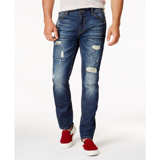 American Rag Men's Ripped Stretch Jeans  Blue Size 30X30