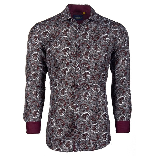 Suslo Couture Men's Printed Fashion Floral Long Sleeve Button Down Shirt