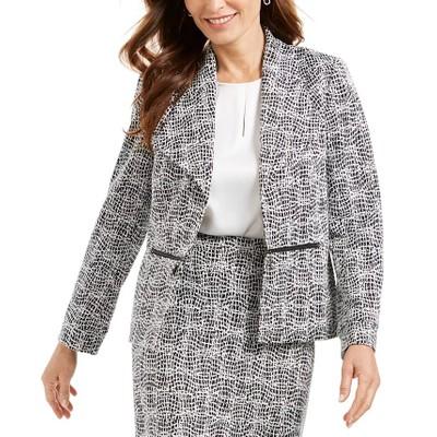 Kasper Women's Metallic Jacquard Wing Collar Jacket Charcoal Size 4