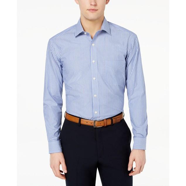 Club Room Men's Classic Fit Stripe Dress Shirt  Navy Size 16-32-33