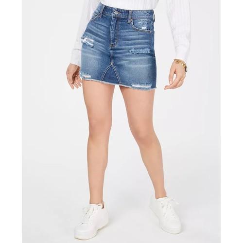 Tinseltown Juniors' Ripped Denim Mini Skirt Med Blue Size 15