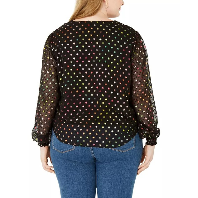 INC International Concepts Women's Plus Size Polka Dot Top Black Size 1X