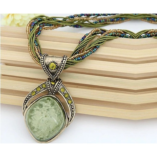 Layered Bohemian Pendant with handpicked crystal