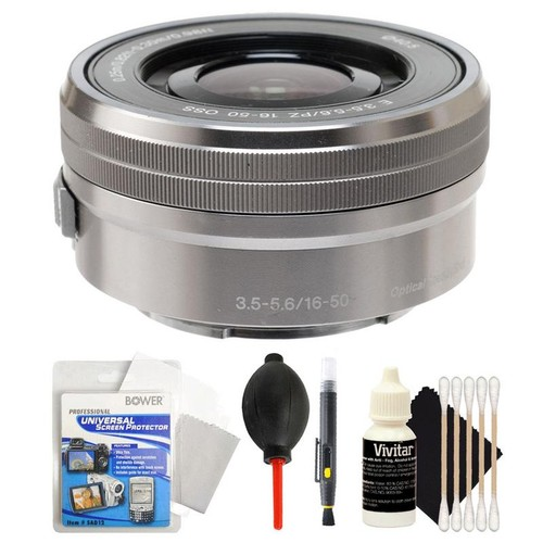 Sony E PZ 16-50mm f/3.5-5.6 OSS Silver Lens + Universal Screen Protector + Lens Cleaner + Dust Blower + 3pc Cleaning Kit