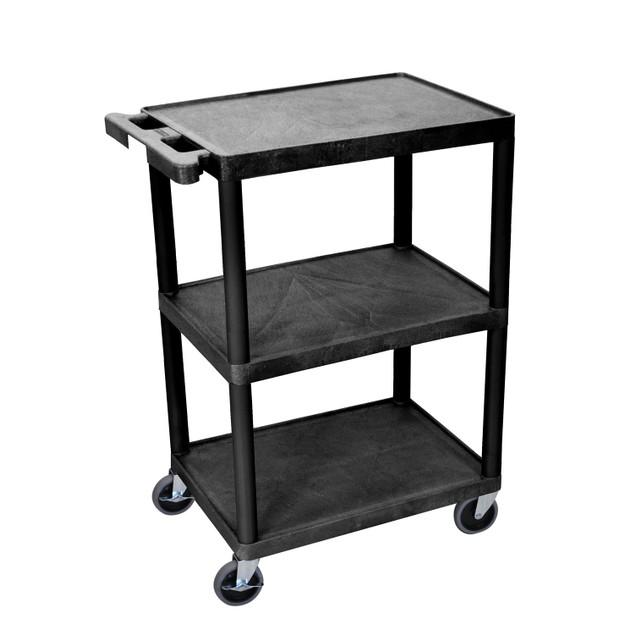"Luxor 32"" Three Flat Shelves Utility Cart - Black"