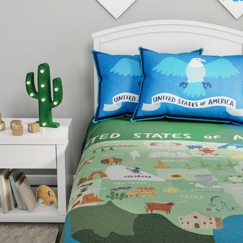 United States 3 Piece Quilt Set- Twin XL Bedding & 2 Pillow Shams