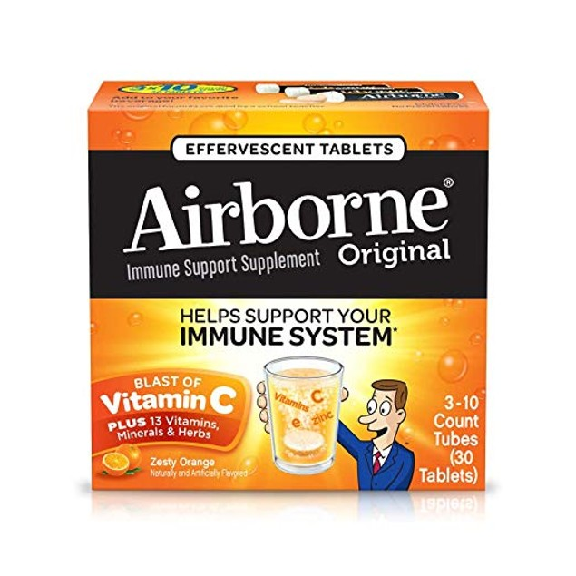 Vitamin C 1000mg - Airborne Zesty Orange Effervescent Tablets.