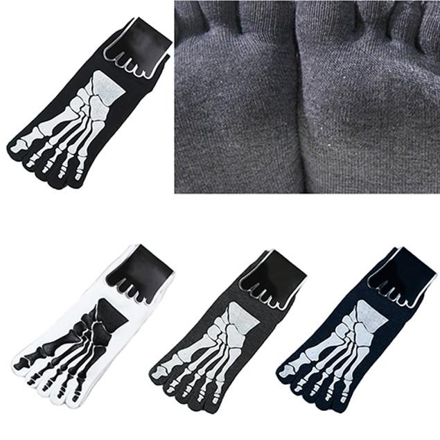 1 Pair Men's Ankle Feet Skull Claws Printing Five Toe Cotton Socks