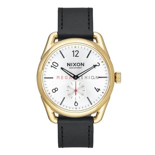 NEW Nixon Men's A4592226-00 C39 Leather Analog Display Quartz Black Watch A459-2226-00