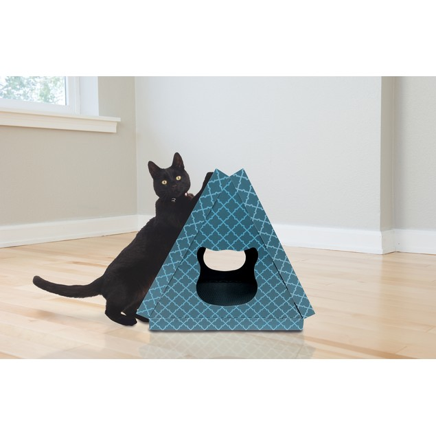 FurHaven Tiger Tent Corrugated Cat Scratcher House with Catnip