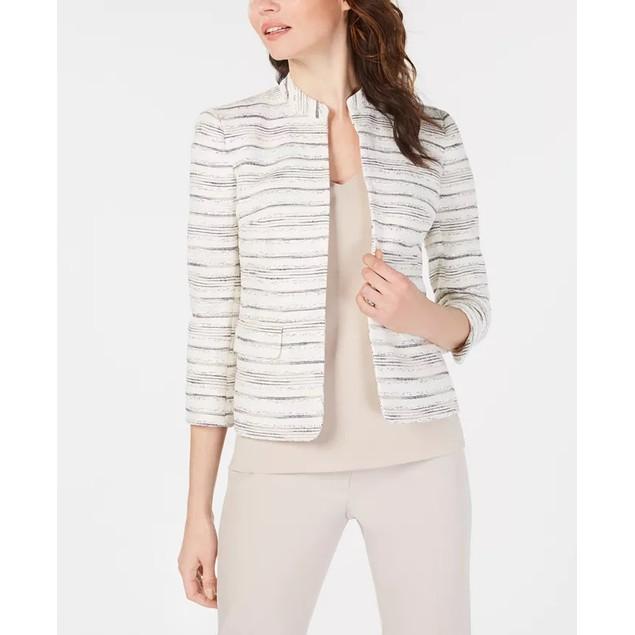Anne Klein Women's Collarless Printed Jacket White Size 4