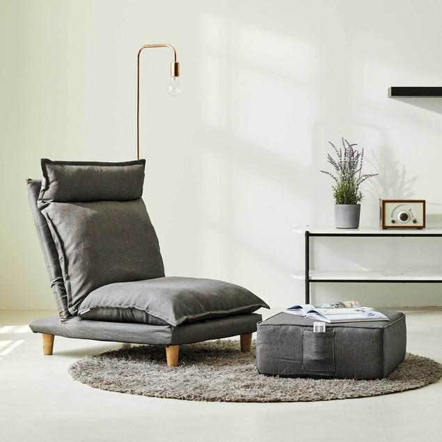 Monster Living Bake Ergonomic Design Floor Reclining Sofa with Ottoman - Grey