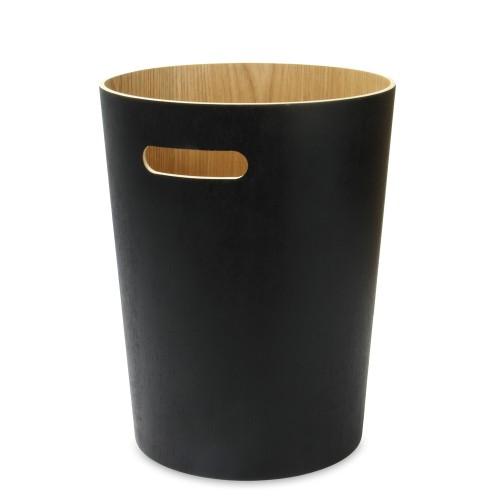 Wooden Waste Paper Bin   MandW Black