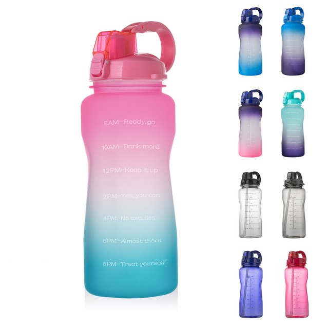 Handle Large Capacity Bounce Cover With Straw Outdoor Sports Bottle 2000ml
