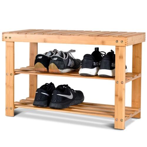 Costway 2-Tier Bamboo Shoe Bench Storage Racks Seat Organizer Entryway Hall