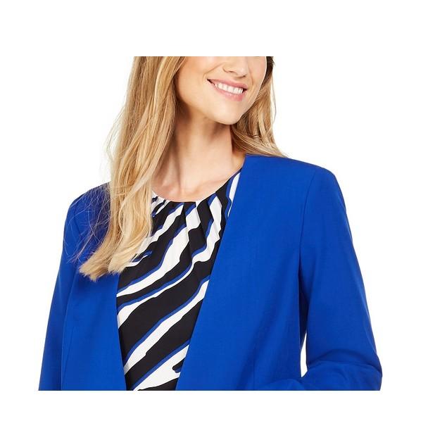 Calvin Klein Women's Collarless Single-Snap Blazer Blue Size 14