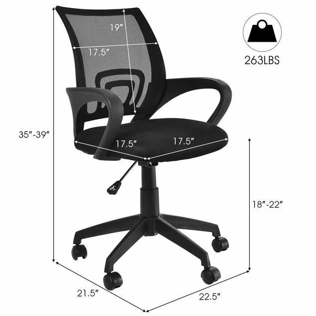 Costway Ergonomic Mid-back Mesh Computer Office Chair Desk Task Task Swivel