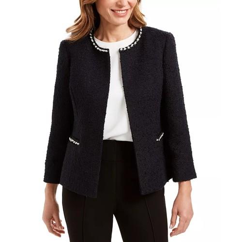 Kasper Women's Faux-Pearl Embellished Textured Jacket Navy Size 12