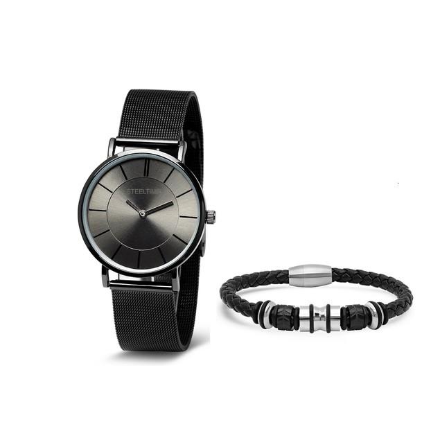 Bracelet & Watch Set W/ Leather Braided Bracelet W/ Stainless Steel Designs