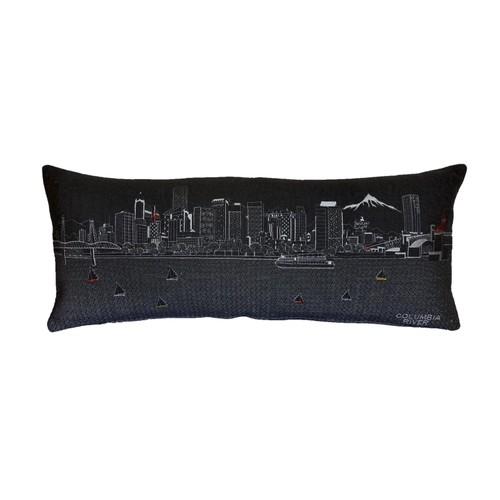 Spura Home Portland Skyline Embroidered Wool Cushion Day/Night Setting