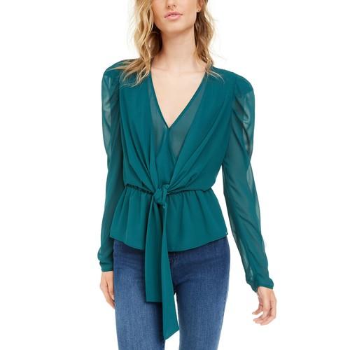 LEYDEN Women's Puff Sleeve Tie Front Top Dark Blue Size Extra Large