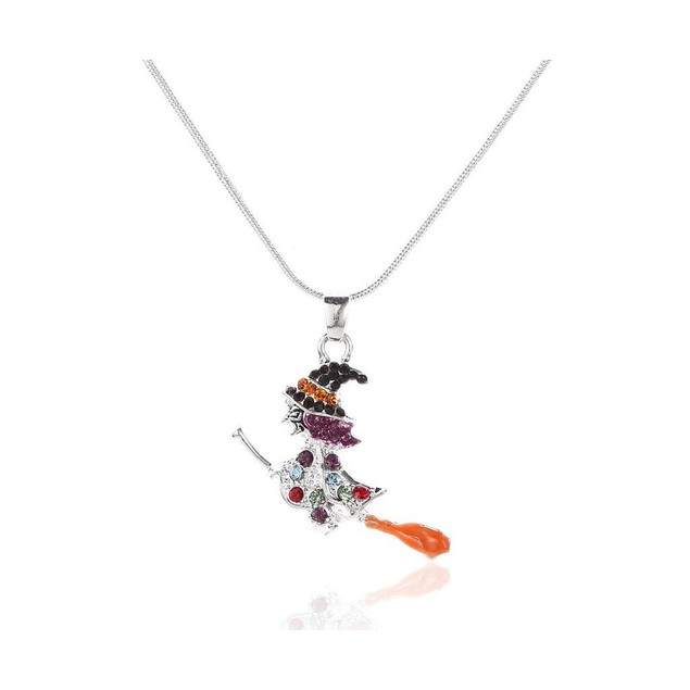 Halloween spirit with this sparkling colorful witch pendant