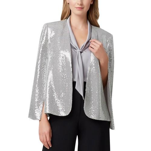 Tahari ASL Women's Shiny Cape Jacket Silver Metalic Size Small